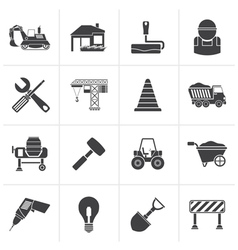 Black Building and construction icons vector
