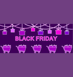 black friday hanging gift boxes celebratory vector image
