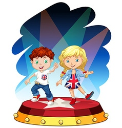 Boy and girl dancing on stage vector