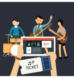 buy music concert ticket online mobile internet vector image