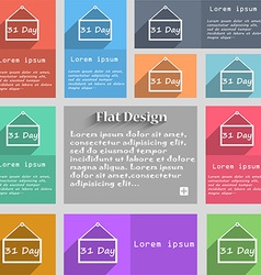 Calendar day 31 days icon sign Set of multicolored vector image