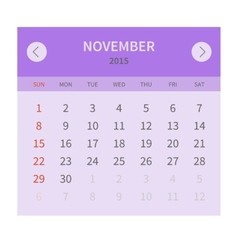 Calendar monthly november 2015 in flat design vector