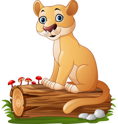 Cartoon feline sitting on tree log vector