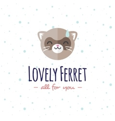 cartoon ferret head logo Flat logotype vector image