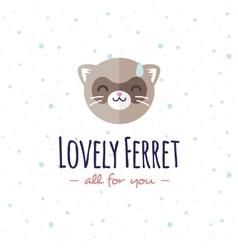 Cartoon ferret head logo flat logotype vector