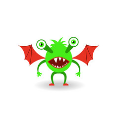 cartoon green monster with red wings vector image