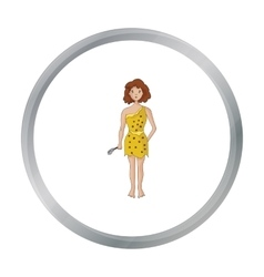 Cavewoman with stone tool icon in cartoon style vector