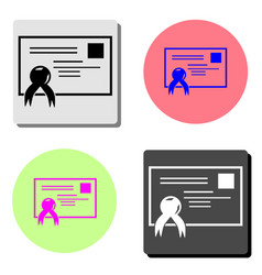 certificate flat icon vector image