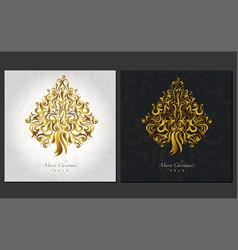 christmas postcard design ornamental christmas vector image