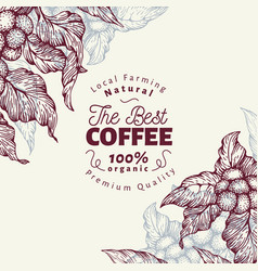 Coffee tree banner template vector