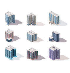collection isometric offices town apartment vector image
