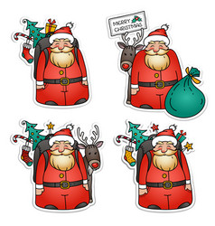Collection of santa claus stickers christmas eve vector