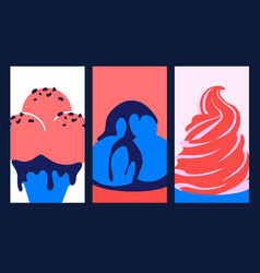 Colorful ice-creams in pop art style poster vector