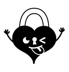 Contour funny heart padlock kawaii personage vector