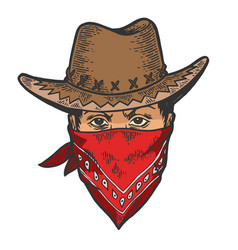 Cowboy head bandit mask bandana sketch engraving vector