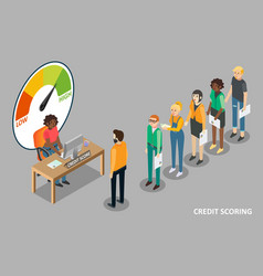 Credit scoring concept flat isometric vector