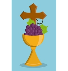 cup gold grapes religion icon graphic vector image