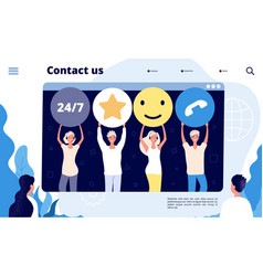 customer support landing call center customers vector image
