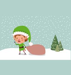 cute santa helper with gift sack vector image