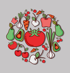 Delicious vegetables and fruits tasty icon vector