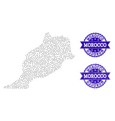 Dotted map of morocco and distress stamp vector