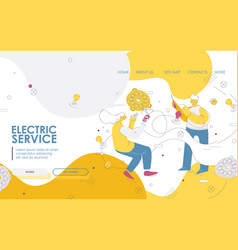 Electric service landing page or banner for vector