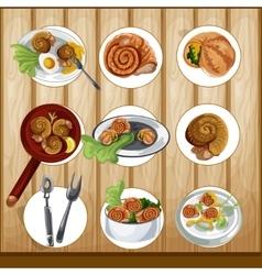 Escargots gastronomy set vector