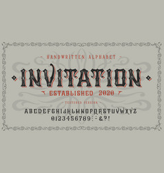 font invitation craft retro vintage type design vector image