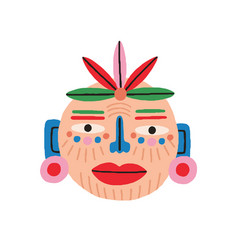funny ethnic tribal mask isolated on white vector image