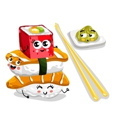 Funny sushi and sashimi set cartoon character vector