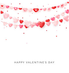 garlands hearts on white background valentines vector image