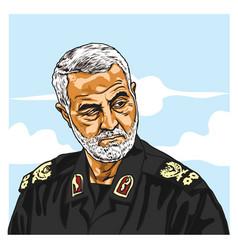general qasem soleimani cartoon caricature vector image