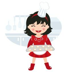 Girl baking cookies vector image