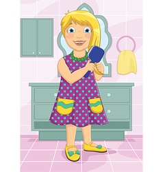Girl Brushing Hair vector image