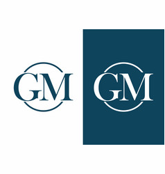 gm letter in circle logo vector image