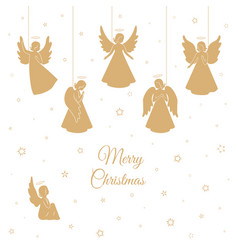 Golden christmas angels with wings and nimbus vector