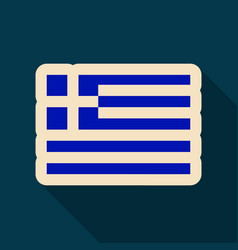 Greece flag in flat style with shadow vector