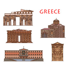 Greece travel and athens architecture buildings vector