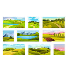 Green landscapes with hills and clear sky vector