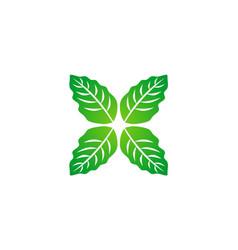 Green leaf organic circle logo vector