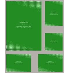 Green page corner design template set vector