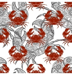 Grey and red crabs seamless pattern vector image