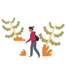 guy in forest hiker or backpacker traveler vector image