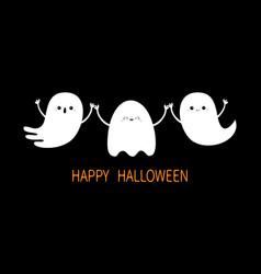 Happy halloween spirit holding hands three ghost vector