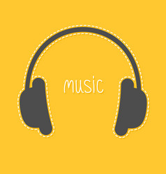 headphones with dash line and white word music vector image