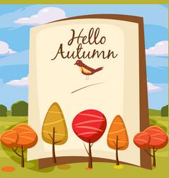 Hello autumn park landscape style cartoon vector