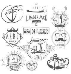 Hipster vintage labels set black vector image