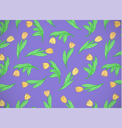 Horizontal card with cute cartoon yellow flowers vector