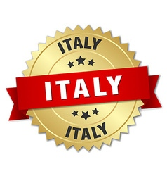Italy round golden badge with red ribbon vector image