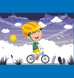 kid cycling vector image
